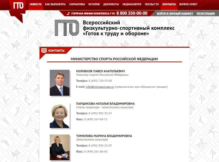 ГТО.ру - Контакты